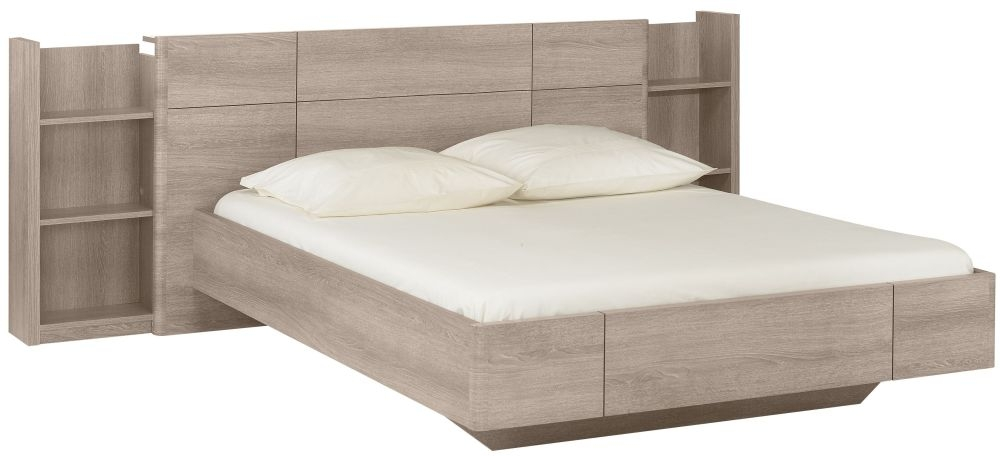 Gami Quadra Grey Hazelnut Bed with Bookcase Headboard