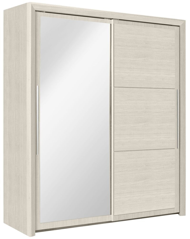 Gami Sarlat Cherry White Sliding Wardrobe - 2 Door with Mirror