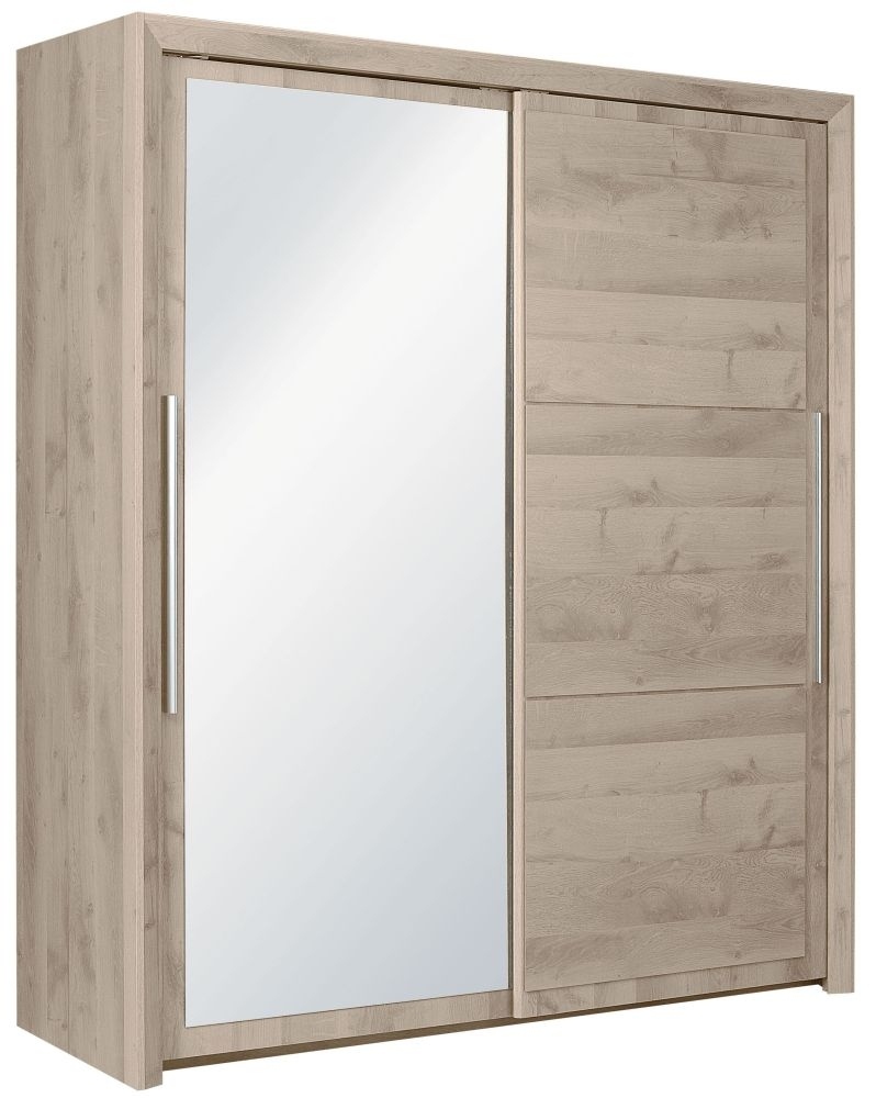 Gami Sarlat Oak Sliding Wardrobe - 2 Door with Mirror
