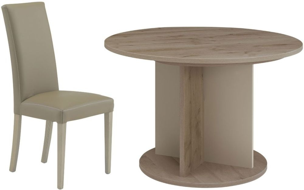 Gami Sha Smoky Oak Dining Set - Round Extending with Ava Taupe Chairs