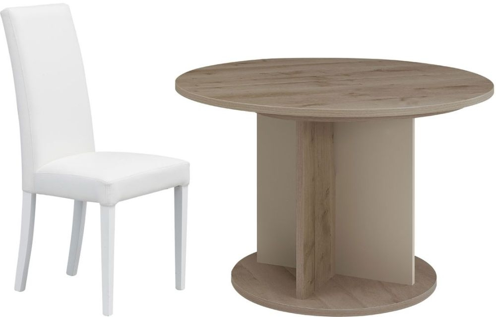 Gami Sha Smoky Oak Dining Set - Round Extending with Ava White Chairs