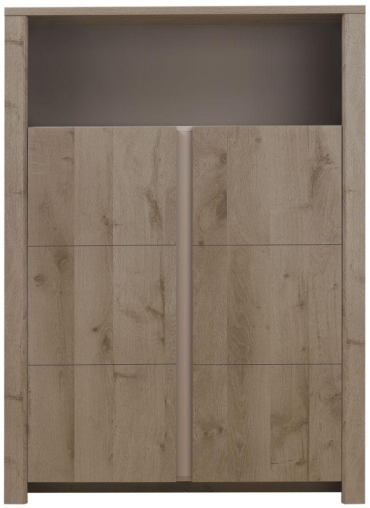 Gami Sha Smoky Oak Display Cabinet - 2 Door 1 Niche
