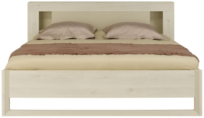 Gami Siena Whitewashed Pine Bed with Cosy Headboard