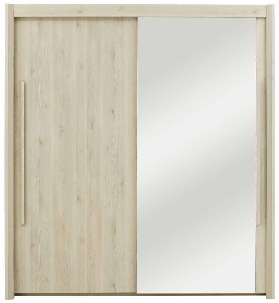 Gami Siena Whitewashed Pine Sliding Wardrobe - 2 Door