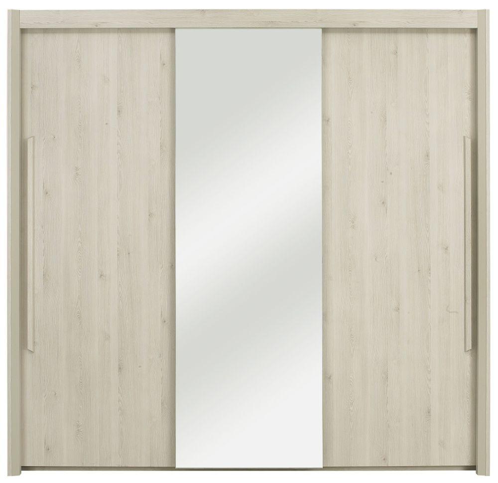 Buy Gami Siena Whitewashed Pine Sliding Wardrobe 3 Door Online