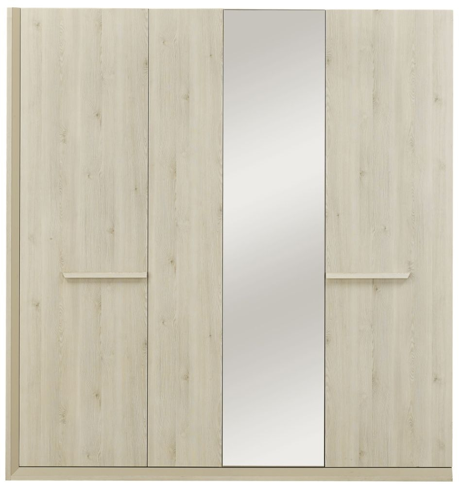 Gami Siena Whitewashed Pine Wardrobe - 4 Door