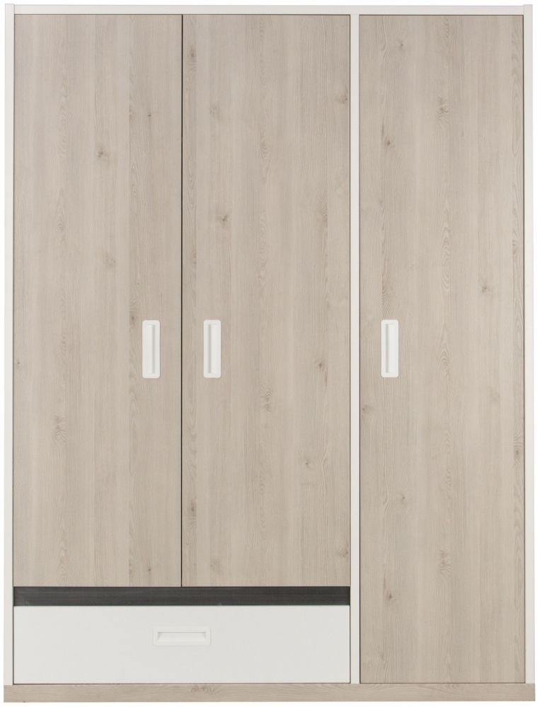Gami Tiago 3 Door Wardrobe - White and Bleached Pine