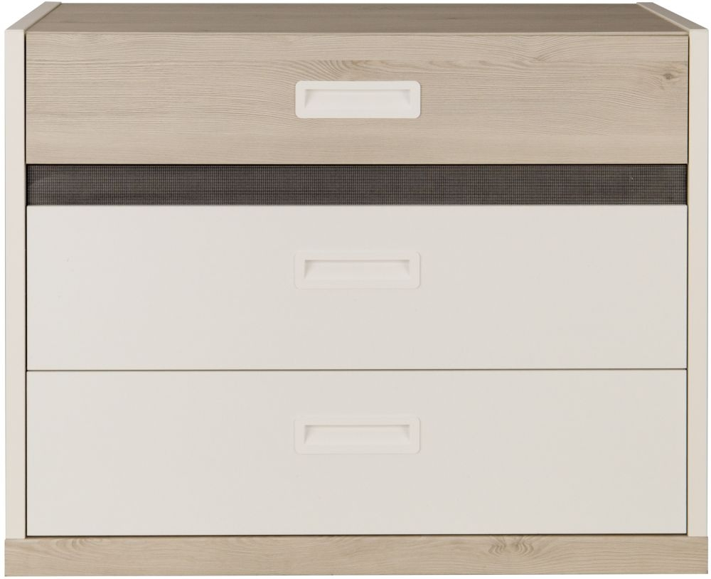 Gami Tiago 3 Drawer Chest - White and Bleached Pine