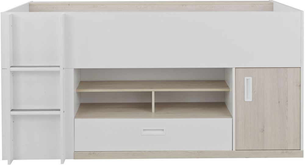 Gami Tiago Compact Bed - White and Bleached Pine