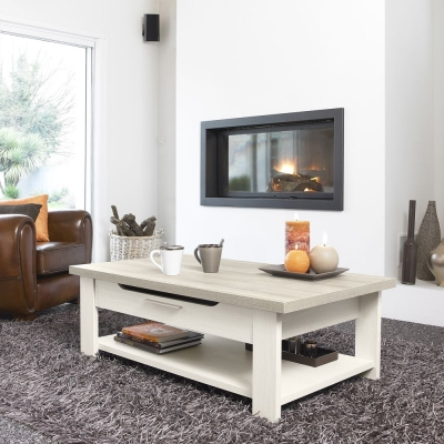 Gami Toscane Bleached Ash Coffee Table - 1 Drawer Low
