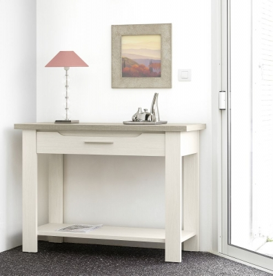 Gami Toscane Bleached Ash Hall Table - 1 Drawer with 1 Shelf