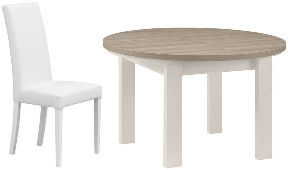 Gami Toscane Bleached Ash Dining Set - Round Extending with Ava White Chairs
