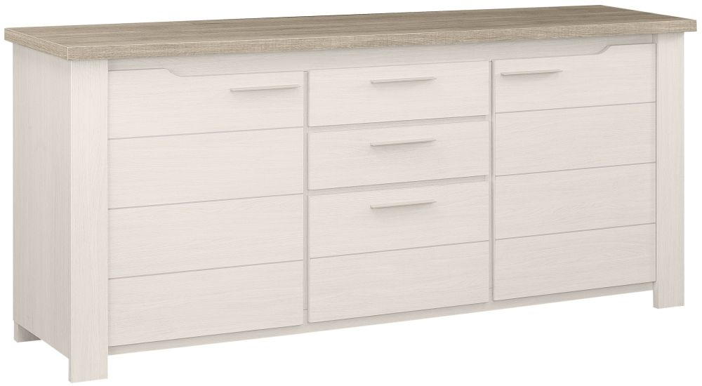 Gami Toscane Bleached Ash Sideboard - 2 Door 3 Drawer