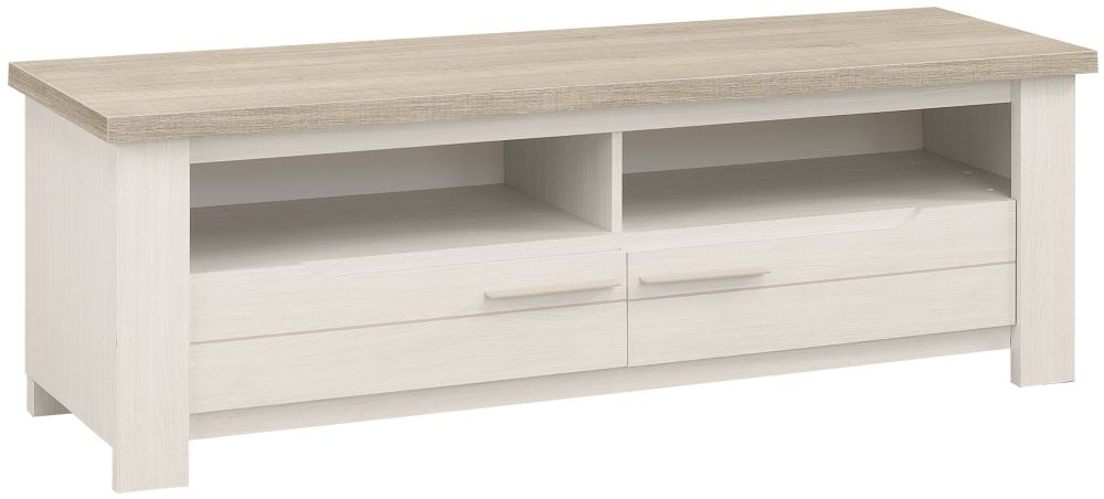 Gami Toscane Bleached Ash TV Unit - 2 Drawer 2 Niche