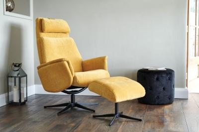 GFA Albury Swivel Recliner Chair with Footstool - Yellow Fabric