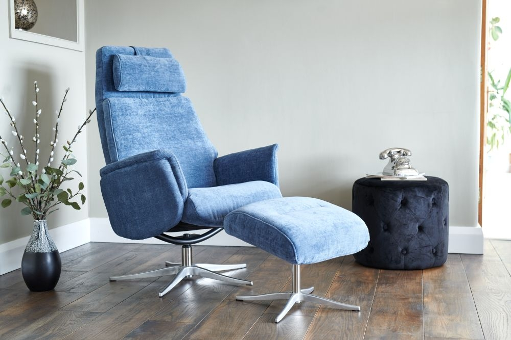 GFA Albury Swivel Recliner Chair with Footstool - Blue Fabric