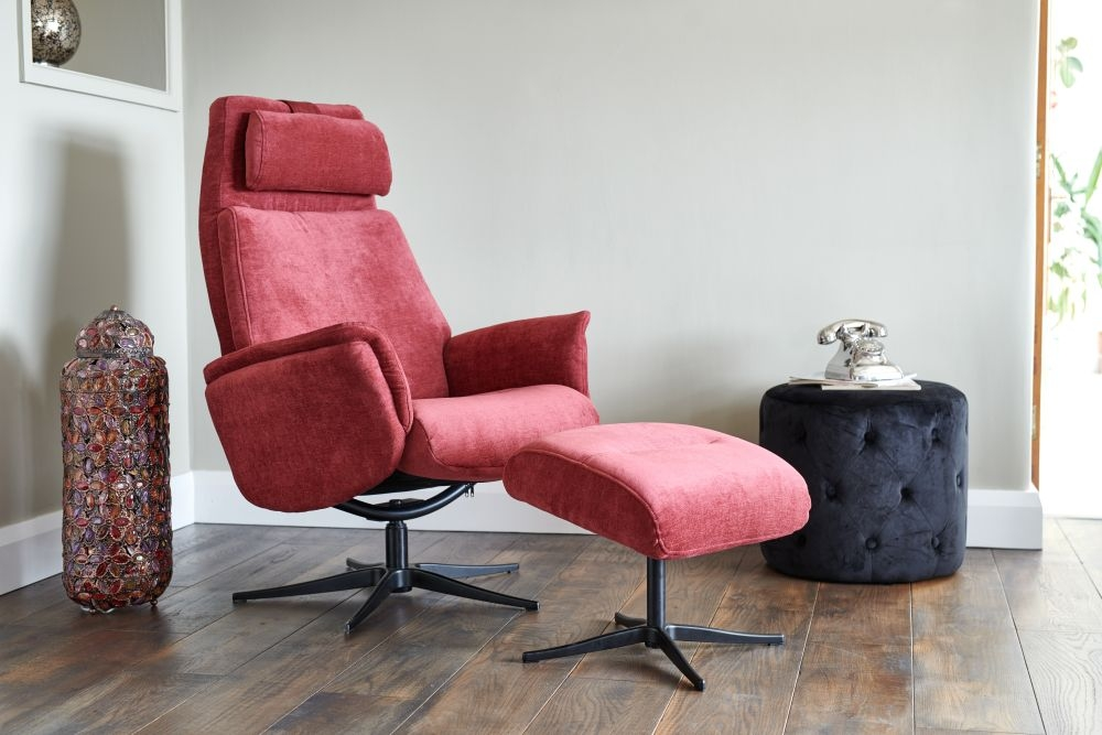 GFA Albury Swivel Recliner Chair with Footstool - Plum Fabric