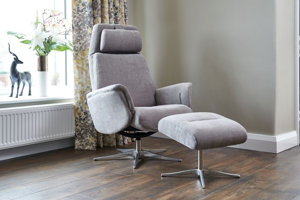 GFA Albury Swivel Recliner Chair with Footstool - Stone Fabric