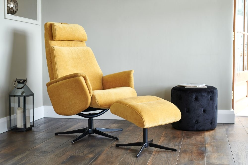 Fantastic Gfa Albury Swivel Recliner Chair With Footstool Yellow Fabric Creativecarmelina Interior Chair Design Creativecarmelinacom