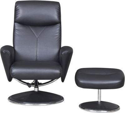 GFA Alizza Swivel Recliner Chair with Footstool - Black Faux Leather