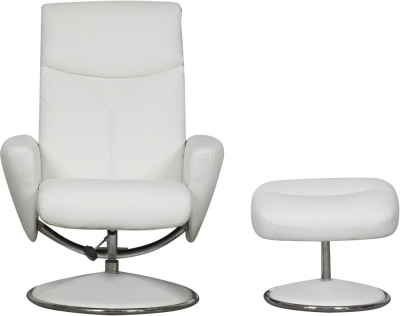 GFA Alizza Swivel Recliner Chair with Footstool - White Faux Leather