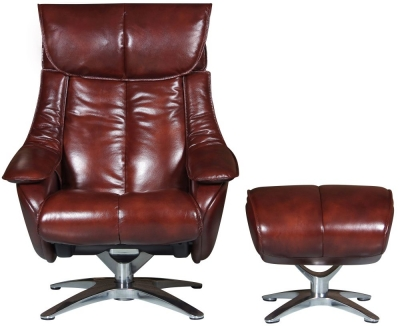 GFA Alpha Swivel Recliner Chair with Footstool - Conker Brown Leather Match
