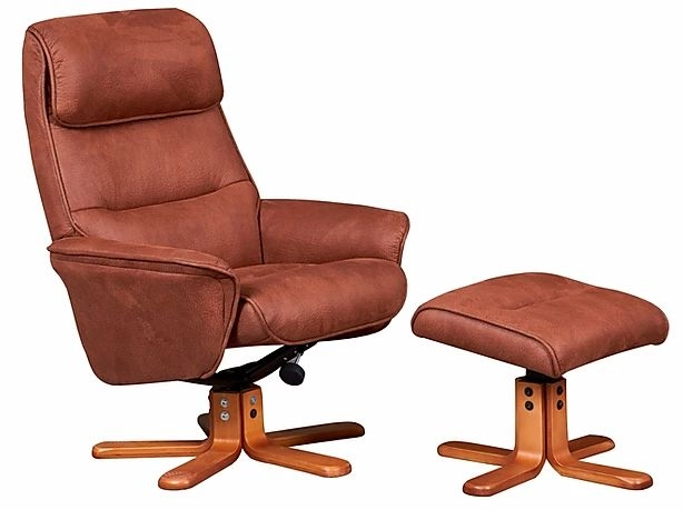 GFA Amalfi Swivel Recliner Chair with Footstool - Tan Faux Leather