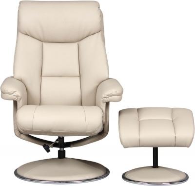 GFA Biarritz Swivel Recliner Chair with Footstool - Bone Plush Fabric
