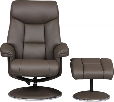 GFA Biarritz Swivel Recliner Chair with Footstool - Charcoal Plush Fabric