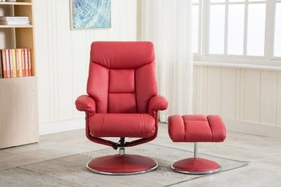 GFA Biarritz Swivel Recliner Chair with Footstool - Cherry Plush Fabric