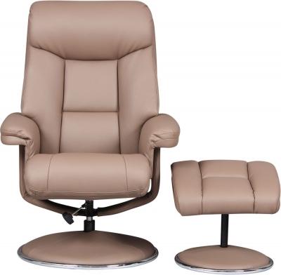 GFA Biarritz Swivel Recliner Chair with Footstool - Earth Plush Fabric