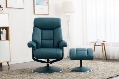 GFA Biarritz Swivel Recliner Chair with Footstool - Lagoon Plush Fabric