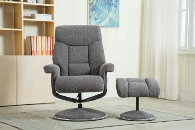 GFA Biarritz Swivel Recliner Chair with Footstool - Lisbon Grey Fabric