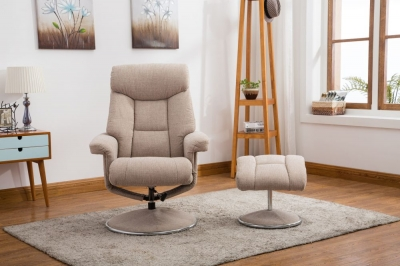GFA Biarritz Swivel Recliner Chair with Footstool - Lisbon Wheat Fabric