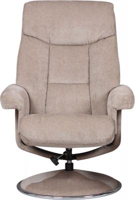 GFA Biarritz Swivel Recliner Chair with Footstool - Mist Fabric