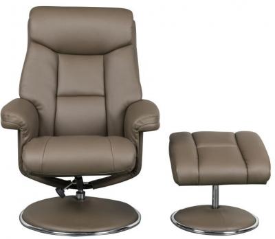 GFA Biarritz Swivel Recliner Chair with Footstool - Truffle Plush Fabric
