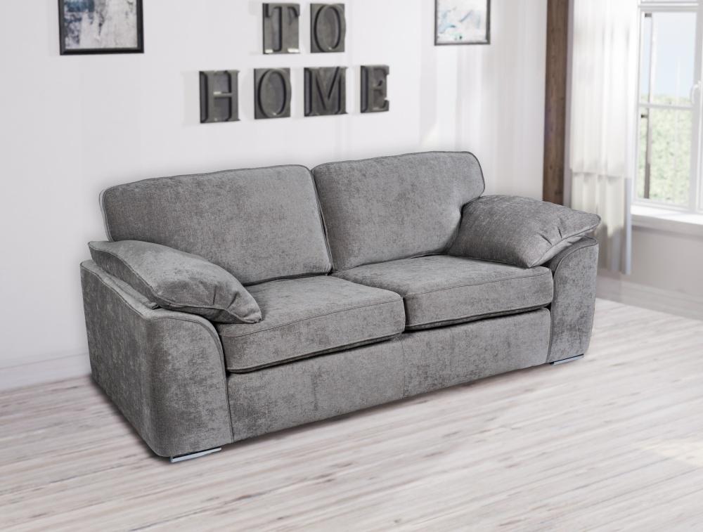 GFA Camden 3 Seater Fixed Sofa - Light Grey Fabric