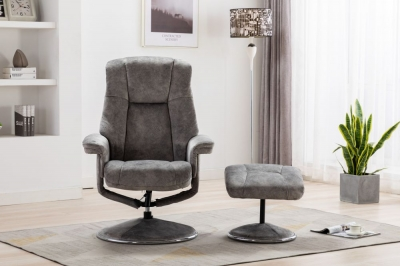 GFA Denver Swivel Recliner Chair with Footstool - Elephant Fabric