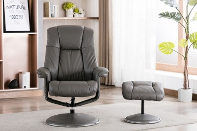 GFA Denver Swivel Recliner Chair with Footstool - Granite Leather Match