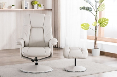 GFA Denver Swivel Recliner Chair with Footstool - Mushroom Leather Match