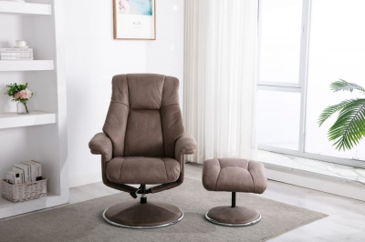 GFA Denver Swivel Recliner Chair with Footstool - Pecan Fabric