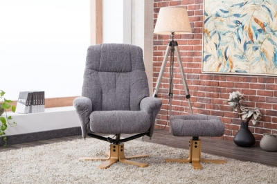 GFA Dubai Swivel Recliner Chair with Footstool - Lisbon Grey Fabric