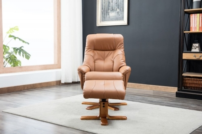 GFA Dubai Swivel Recliner Chair with Footstool - Tan Plush Fabric