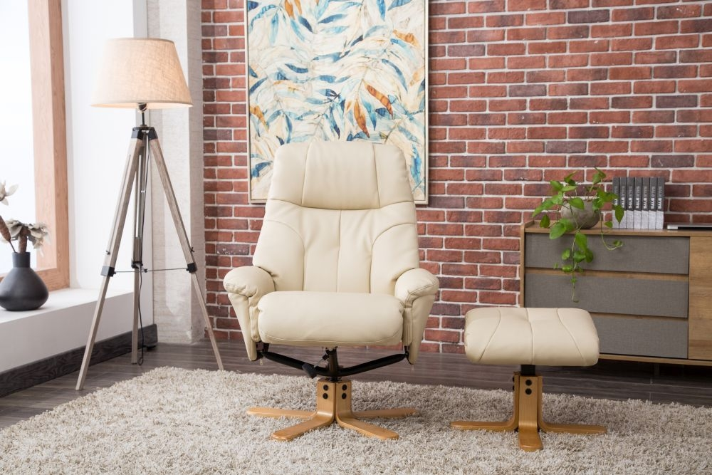 GFA Dubai Swivel Recliner Chair with Footstool - Cream Plush Fabric
