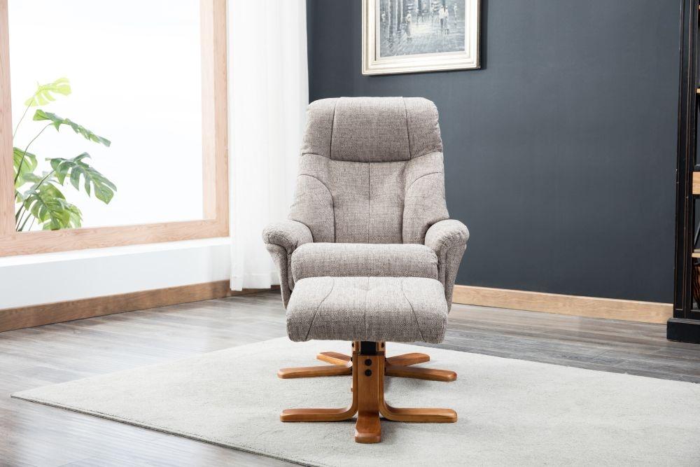 GFA Dubai Swivel Recliner Chair with Footstool - Lisbon Mocha Fabric