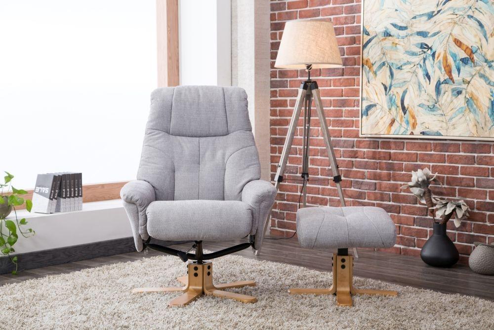 GFA Dubai Swivel Recliner Chair with Footstool - Lisbon Silver Fabric