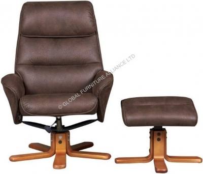 GFA Amalfi Brown Fabric Recliner Chair