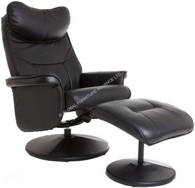 GFA Amsterdam Black Leather Recliner Chair