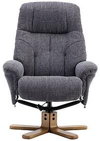 Merveilleux GFA Dubai Lisbon Grey Fabric Swivel Recliner Chair