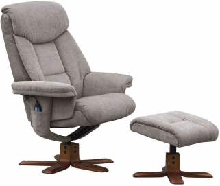 GFA Exmouth Mink Fabric Massage Swivel Recliner Chair